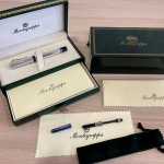 MONTEGRAPPA PRIVILEGE DECO SMALL SILVER PEARL GREY ROLLER BALL PEN