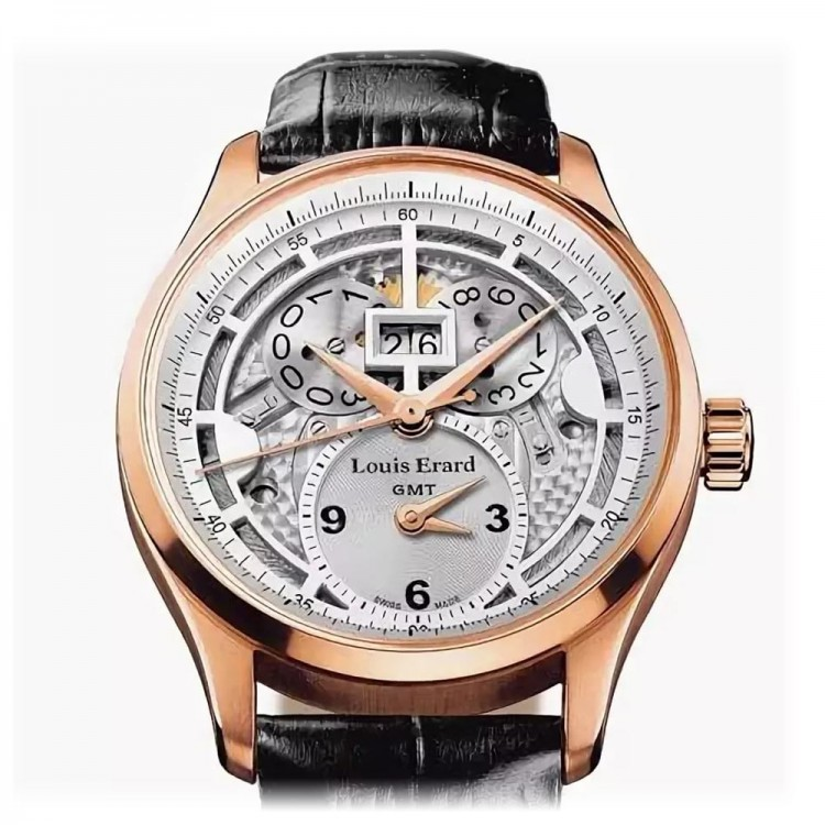Louis Erard Rose Gold Skeleton GMT Limited Edition 99 Ref: 94215OR01