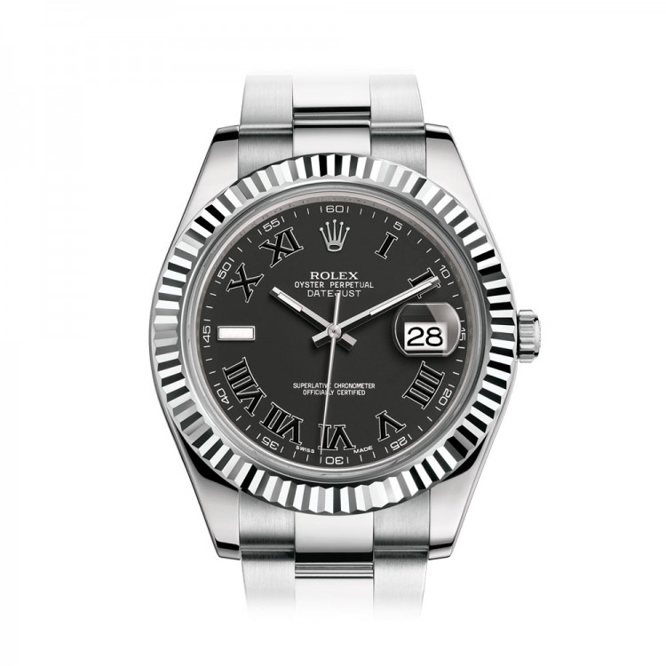 Rolex Datejust 41 II - Steel/White Gold 116334 Black Dial Roman Numerals