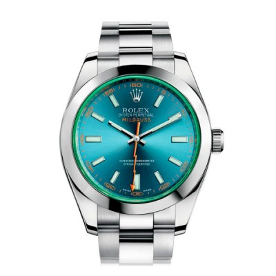 Rolex Oyster Milgauss Green Glass and Blue Dial 116400GV